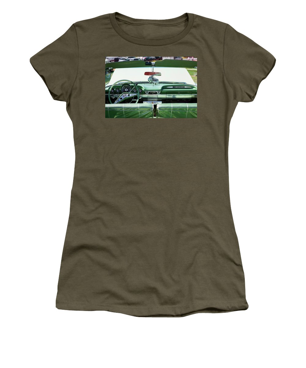 Photography Women's T-Shirt featuring the photograph Fuzzy Dice Hanging In A Car At Antique by Panoramic Images