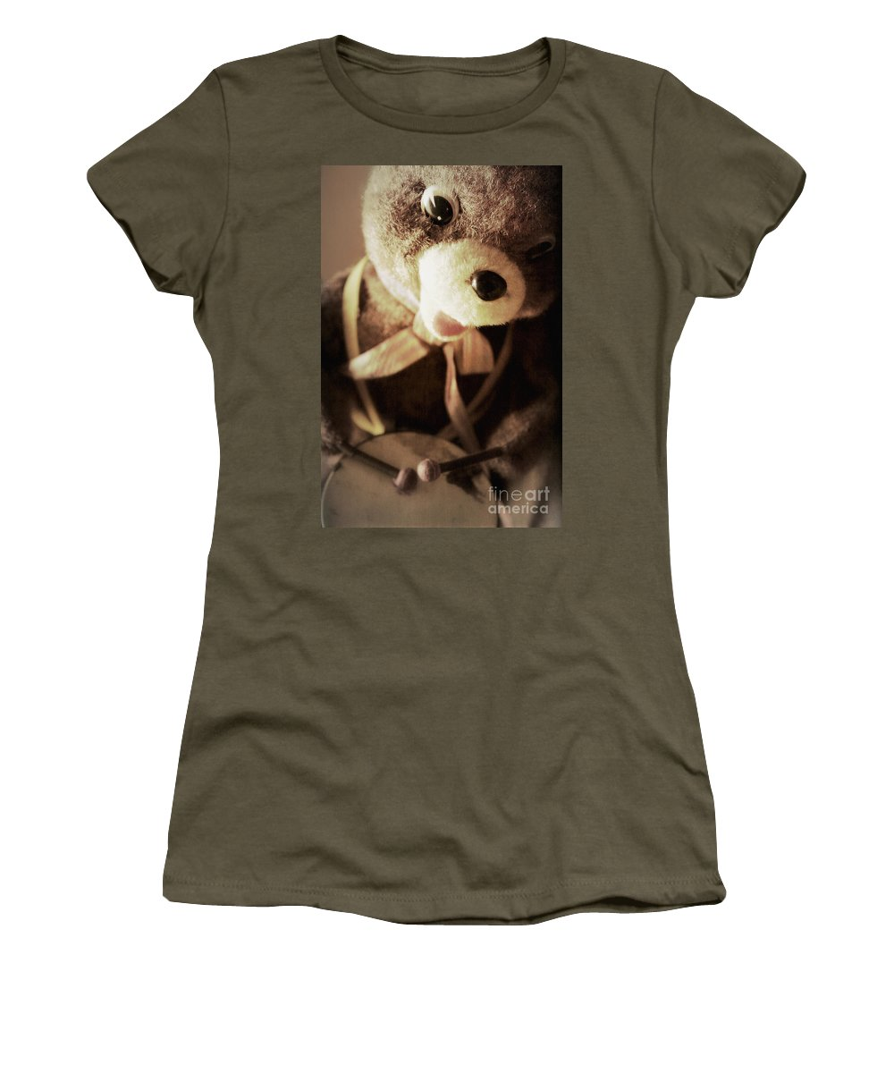 Bear Women's T-Shirt featuring the photograph Fuzzy Drummer by Trish Mistric