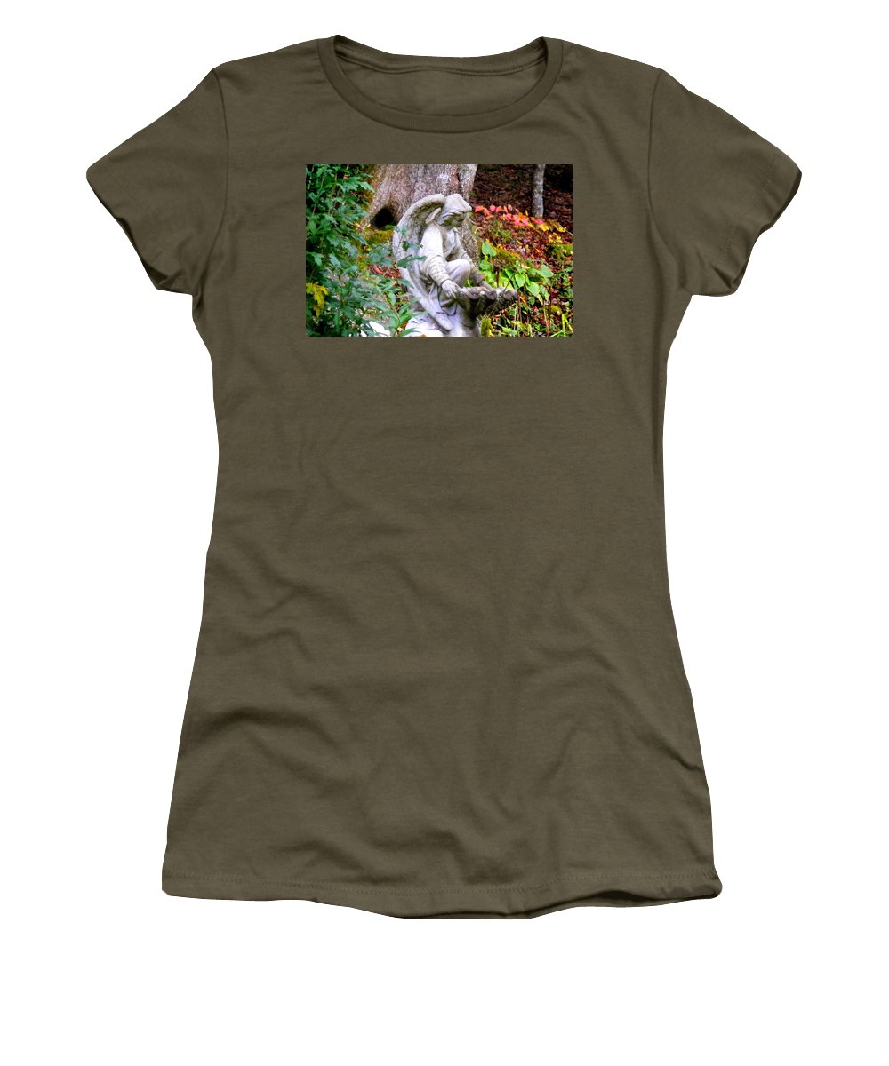 Plants Women's T-Shirt featuring the photograph Garden Angel Statue by Duane McCullough
