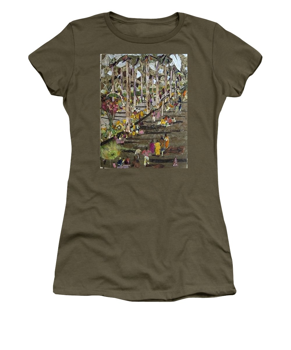 Garden Morning View Women's T-Shirt featuring the mixed media Garden Picnic by Basant Soni