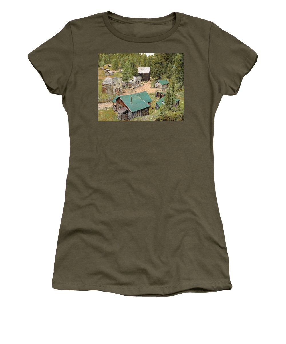 Ghost Town Women's T-Shirt featuring the painting Garnet In Montana by Guido Borelli