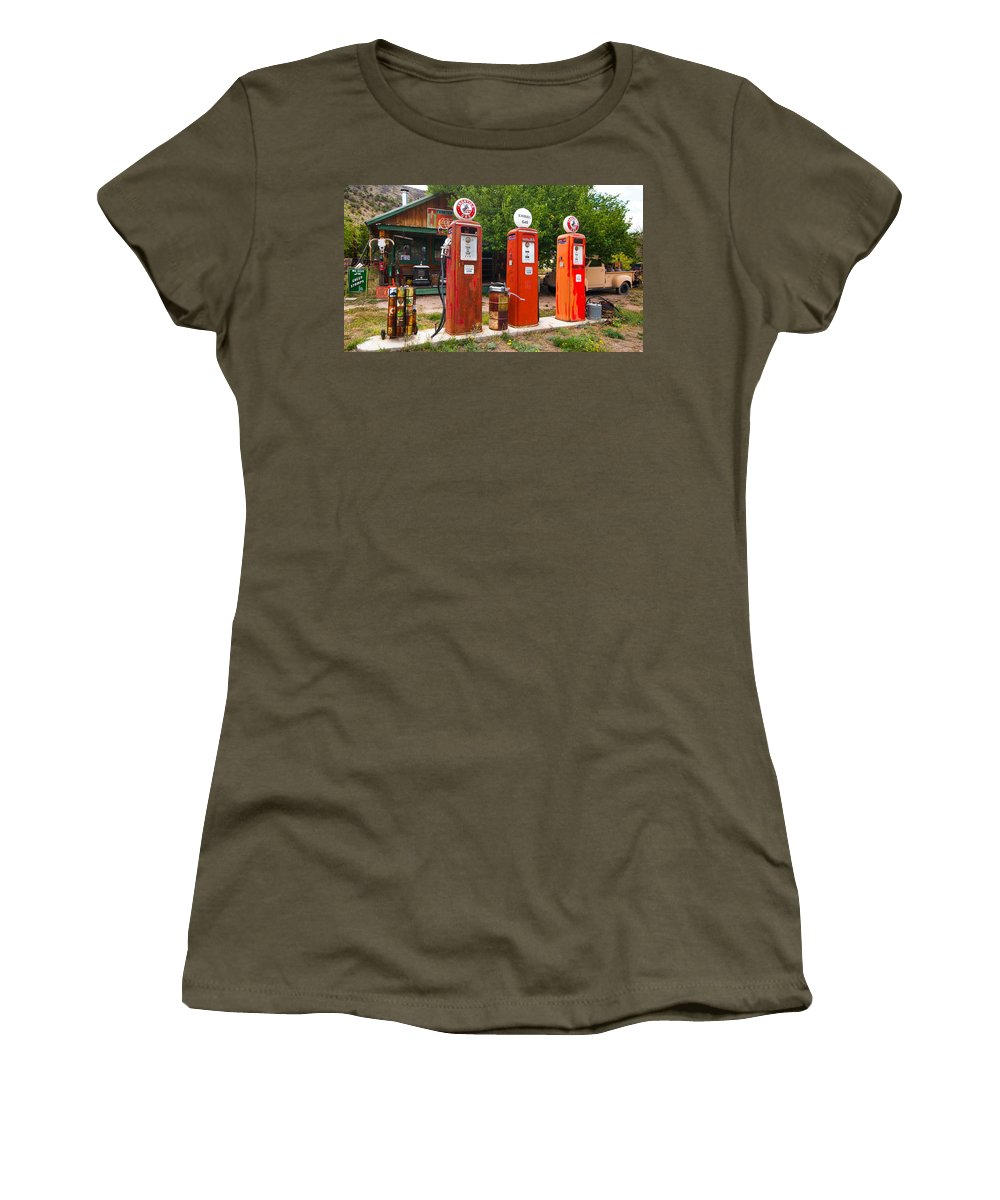 Gas Museum Women's T-Shirt featuring the photograph Gas Museum Embudo New Mexico by Jeff Black