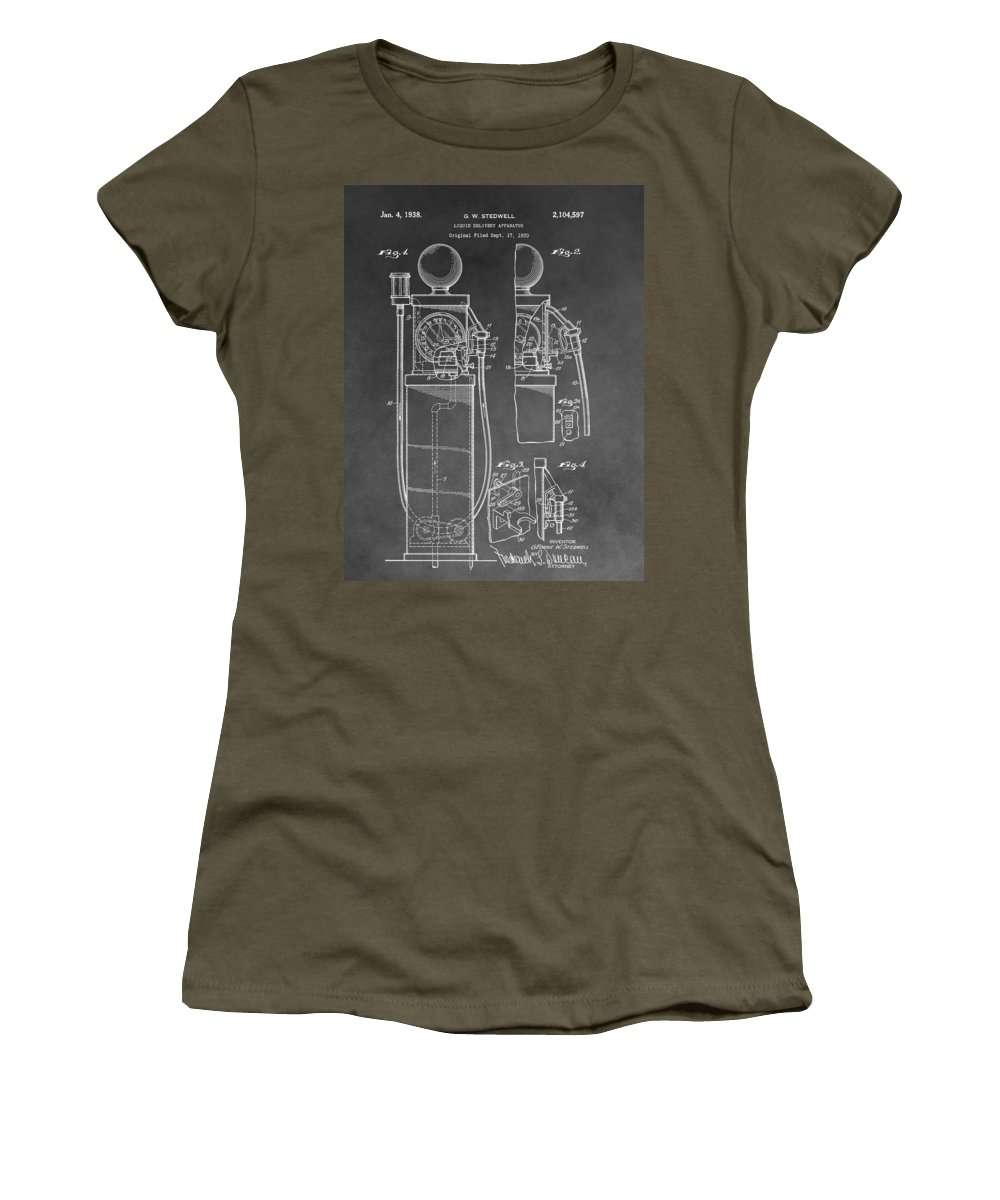 Vintage Gas Pump Patent Women's T-Shirt featuring the drawing Gas Pump Patent by Dan Sproul