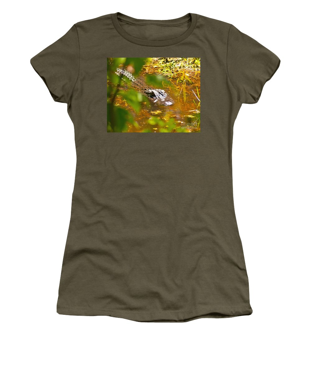 Gator Women's T-Shirt featuring the photograph Gator On The Move by Stephen Whalen