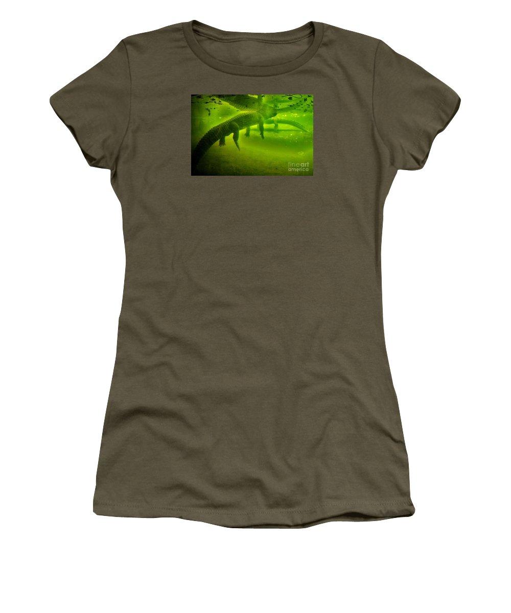 Green Women's T-Shirt featuring the photograph Gator Reflection by Chuck Hicks