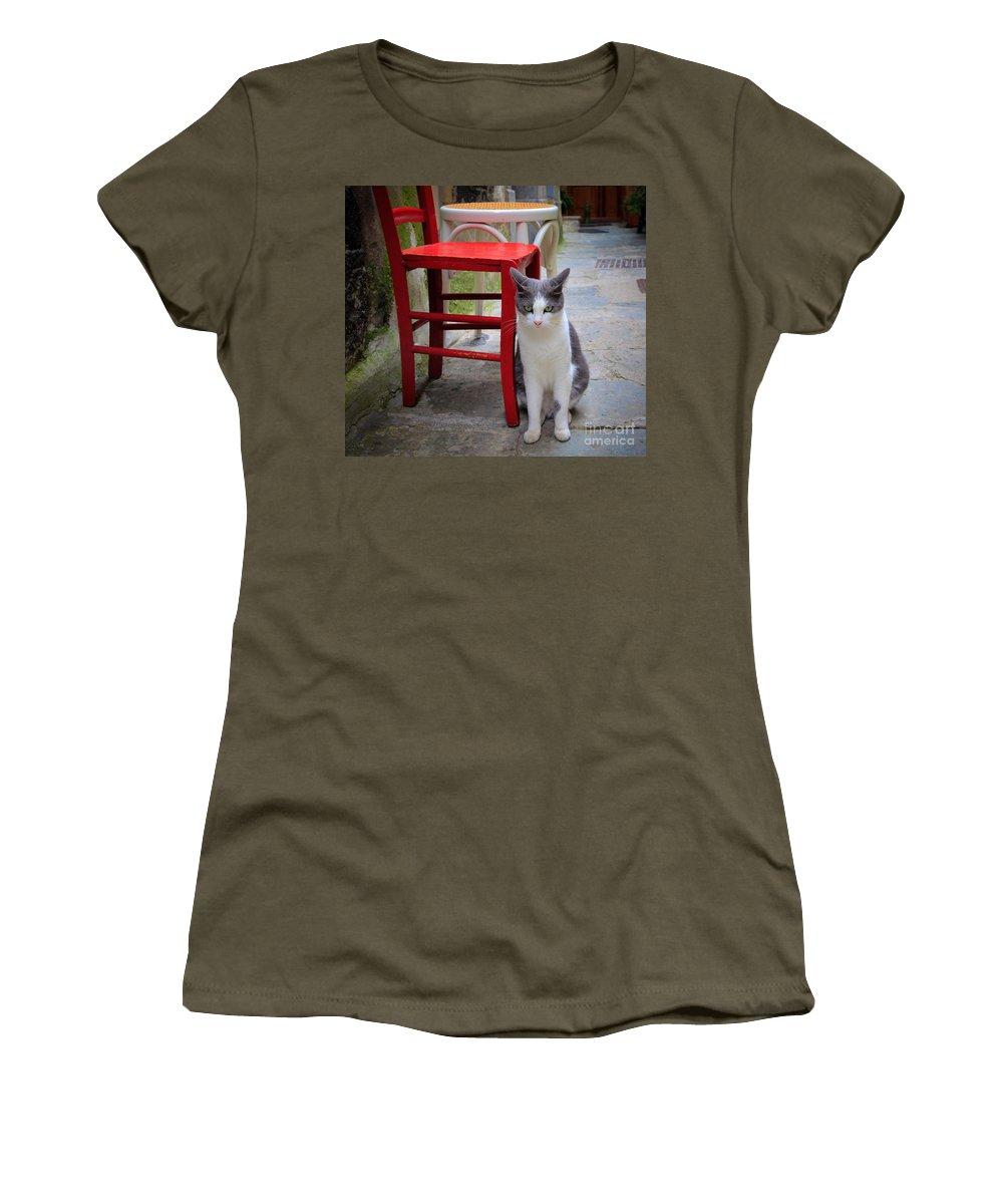 Cinque Terre Women's T-Shirt (Athletic Fit) featuring the photograph Gatto Italiano by Inge Johnsson