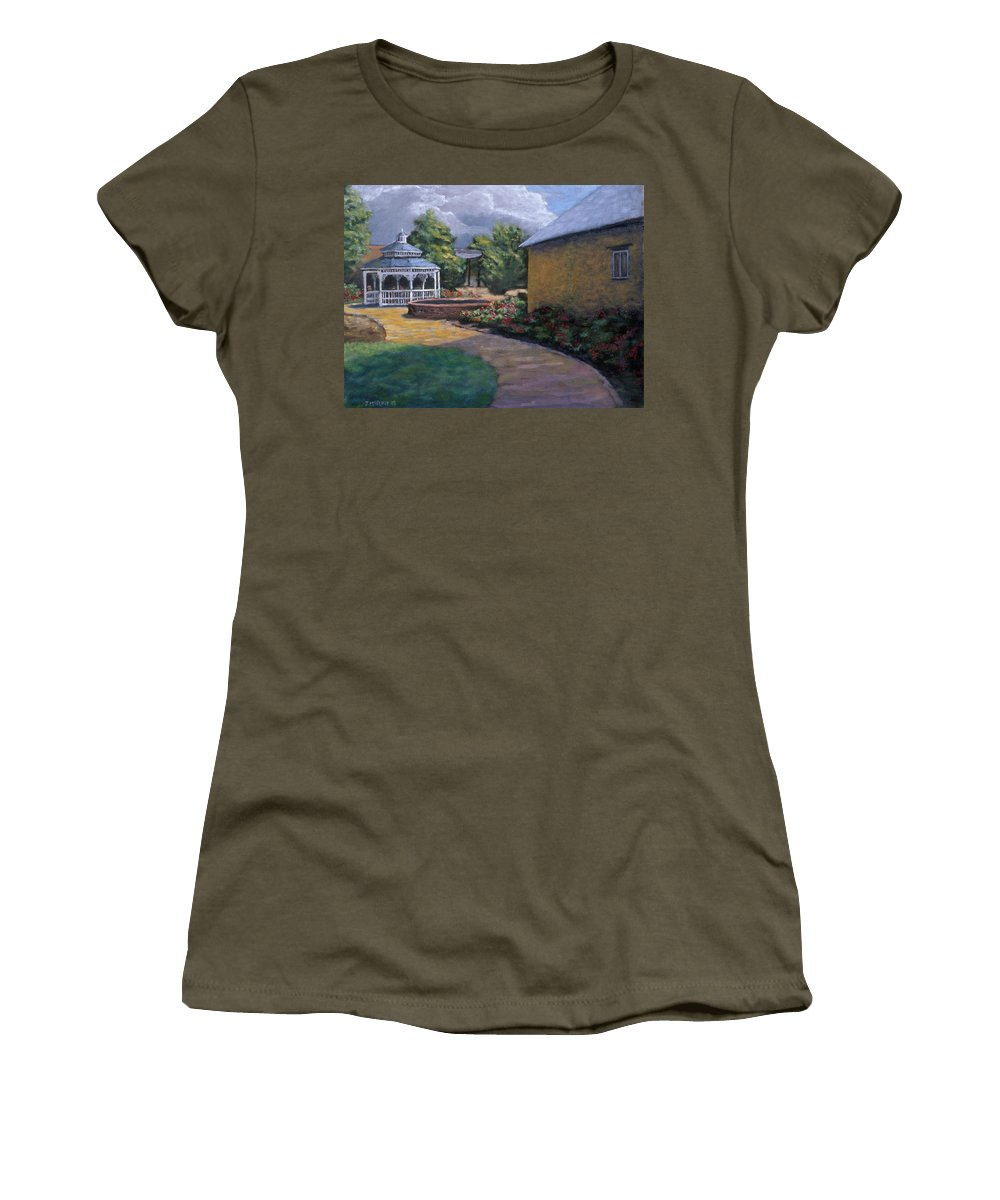 Potter Women's T-Shirt featuring the painting Gazebo In Potter Nebraska by Jerry McElroy