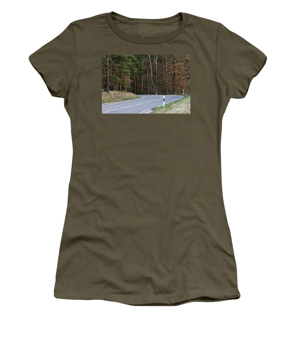 Asphalt Women's T-Shirt (Athletic Fit) featuring the photograph German Country Road by Jannis Werner