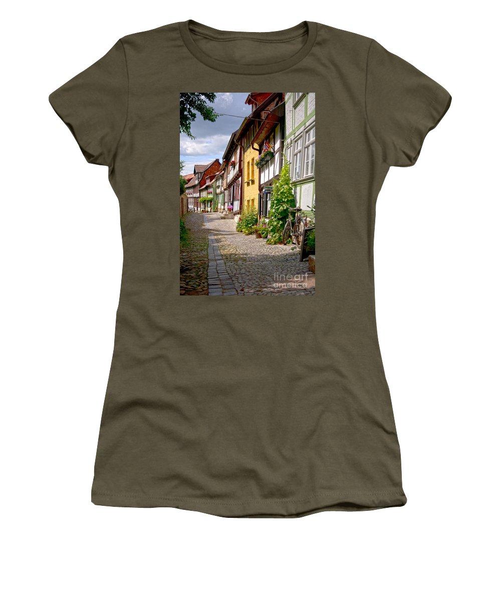 Quedlinburg Women's T-Shirt (Athletic Fit) featuring the photograph German Old Village Quedlinburg by Heiko Koehrer-Wagner
