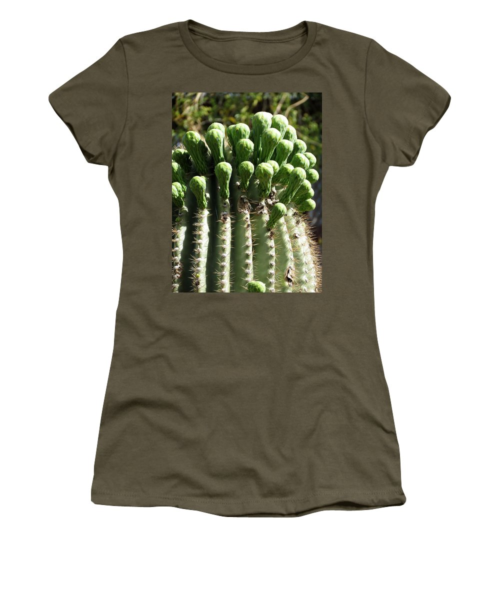 Cactus Women's T-Shirt featuring the photograph Getting Ready To Bloom by Laurel Powell