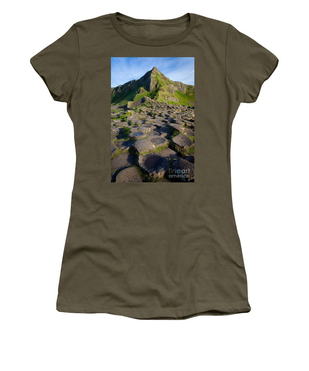 Europe Women's T-Shirt (Athletic Fit) featuring the photograph Giant's Causeway Green Peak by Inge Johnsson