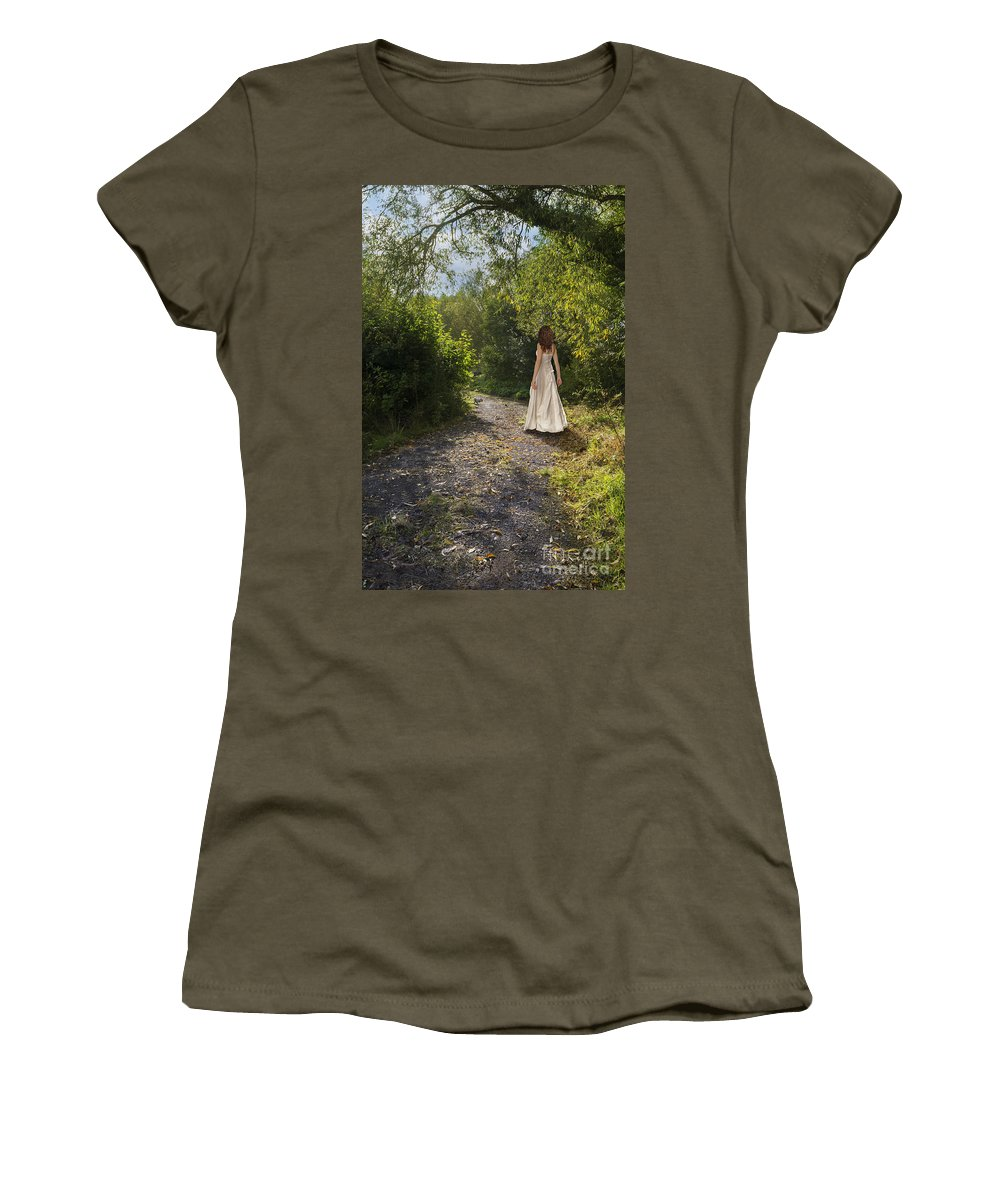Girl Women's T-Shirt featuring the photograph Girl In Country Lane by Amanda Elwell