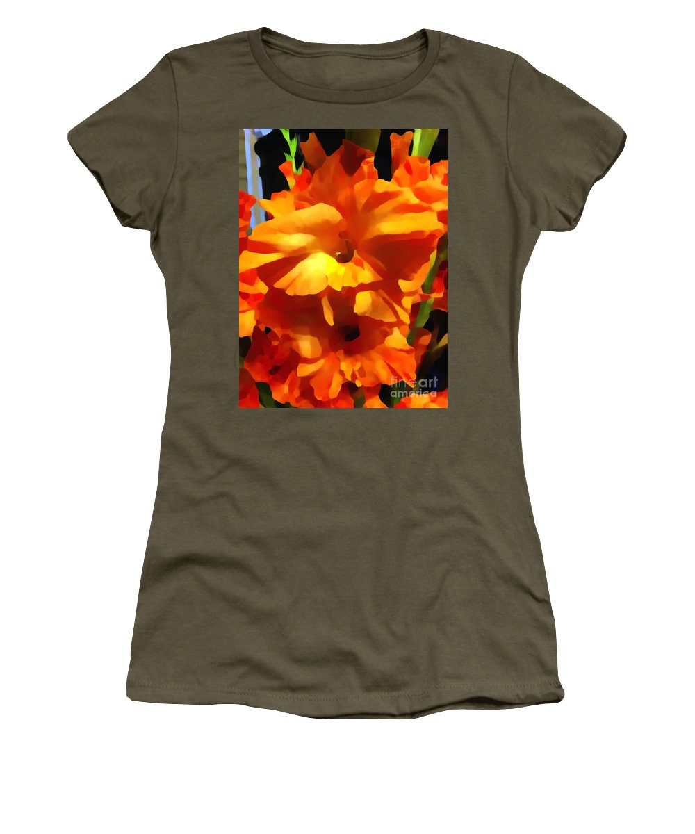 Gladioli Women's T-Shirt featuring the photograph Gladiola Up Close Impression by Saundra Myles
