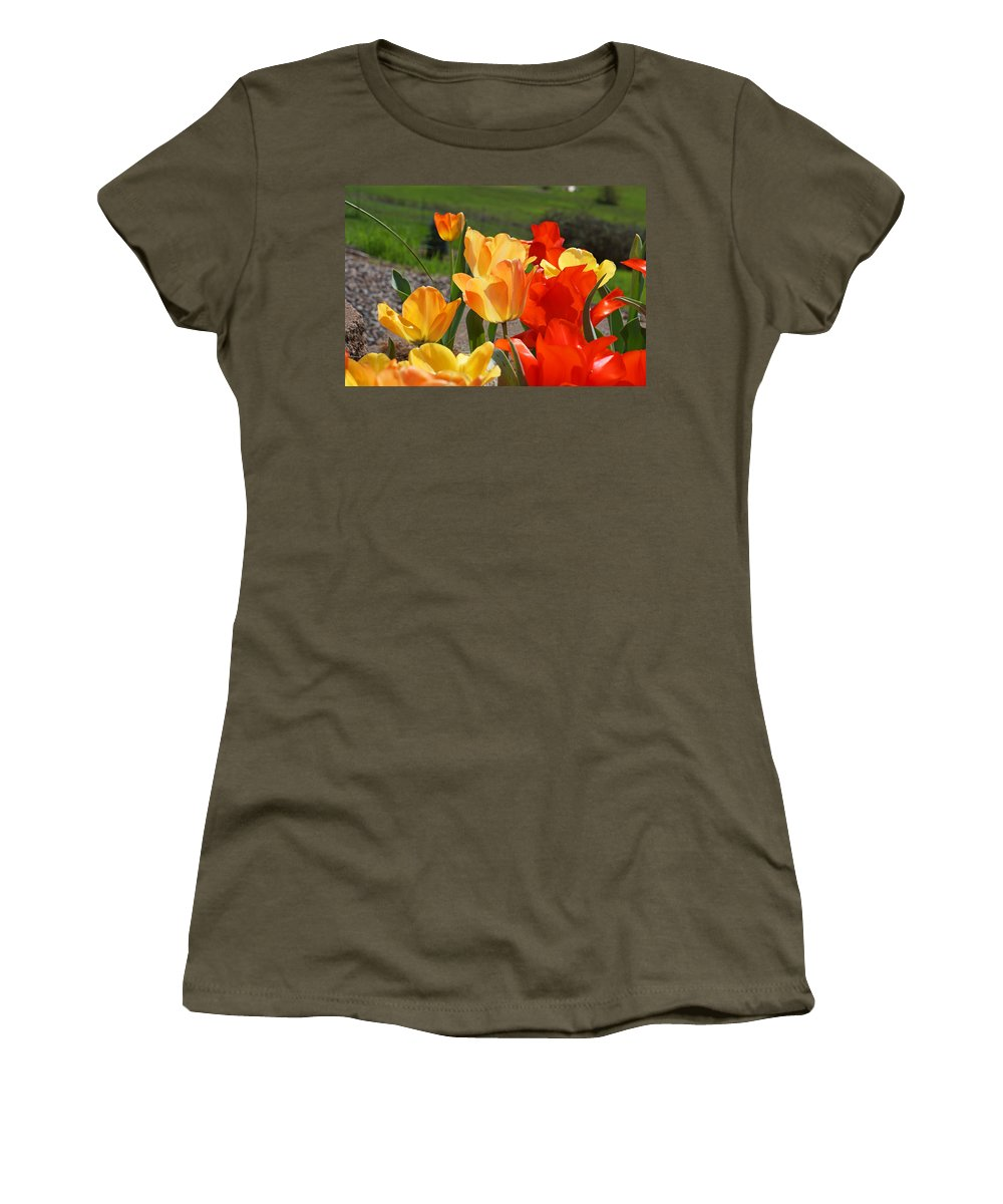 Red Women's T-Shirt featuring the photograph Glowing Sunlit Tulips Art Prints Red Yellow Orange by Baslee Troutman