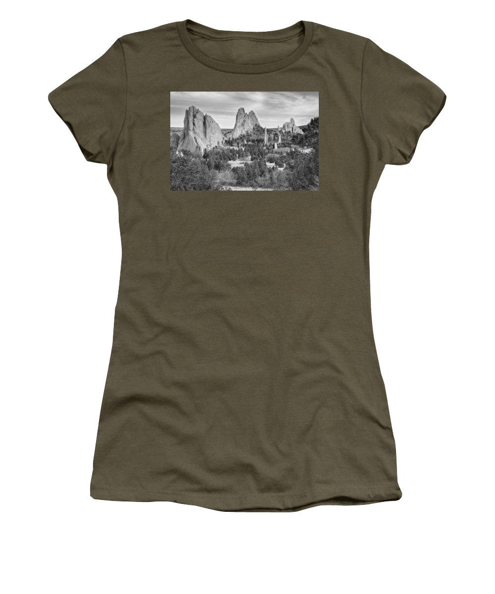 Garden Of The Gods Women's T-Shirt featuring the photograph Gods Colorado Garden In Black And White  by James BO Insogna