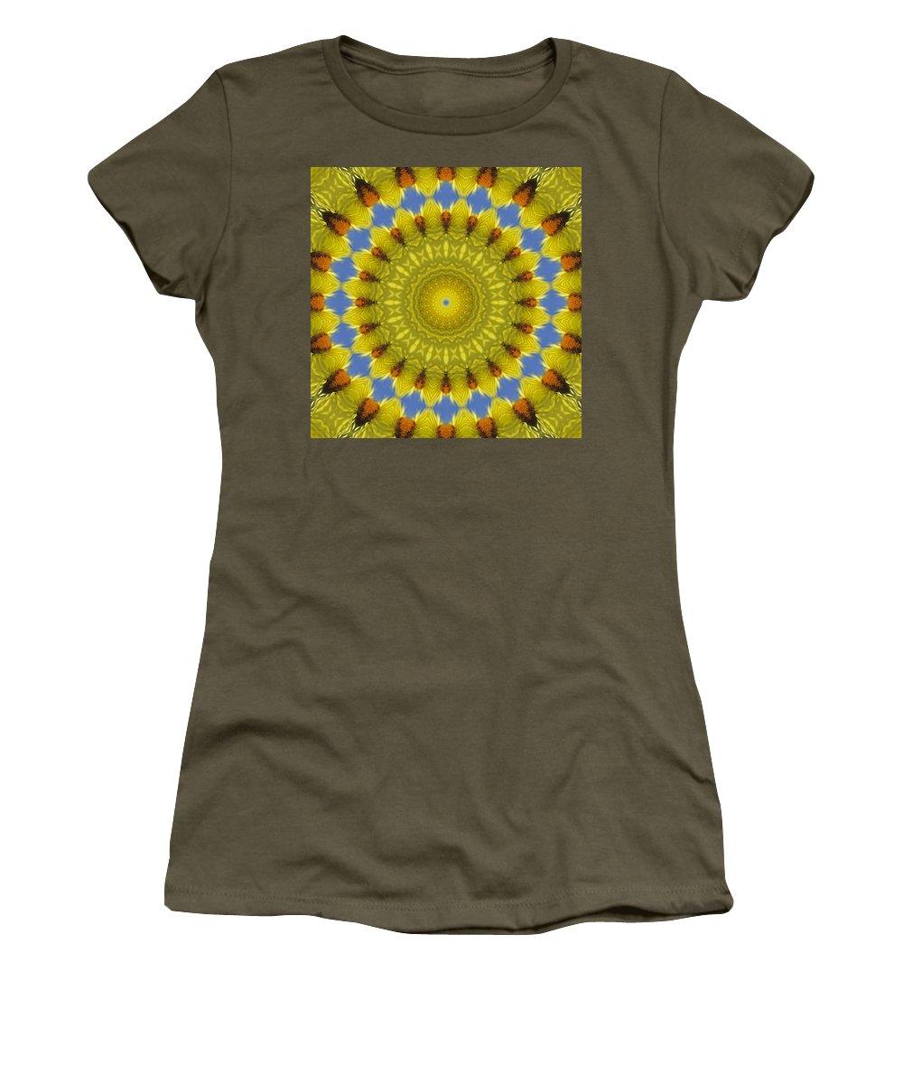 Golden Everlasting Daisy Women's T-Shirt featuring the photograph Golden Everlasting Daisy Mandala by Ben Bassey