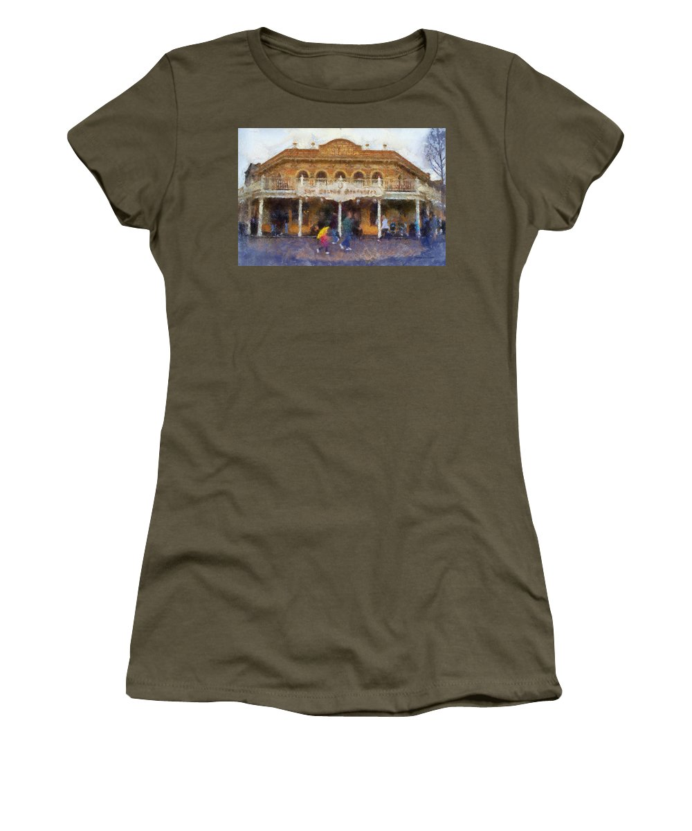 Disney Women's T-Shirt featuring the photograph Golden Horseshoe Frontierland Disneyland Photo Art 02 by Thomas Woolworth