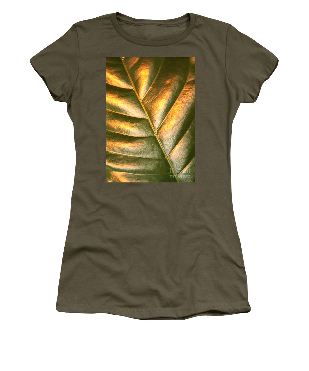 Gold Women's T-Shirt (Athletic Fit) featuring the photograph Golden Leaf 2 by Carol Groenen