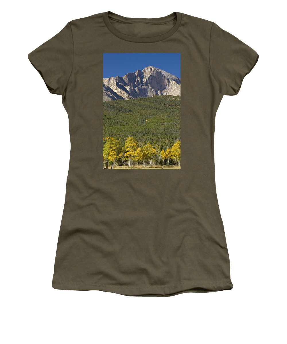 Colorado Women's T-Shirt featuring the photograph Golden Longs Peak View by James BO Insogna