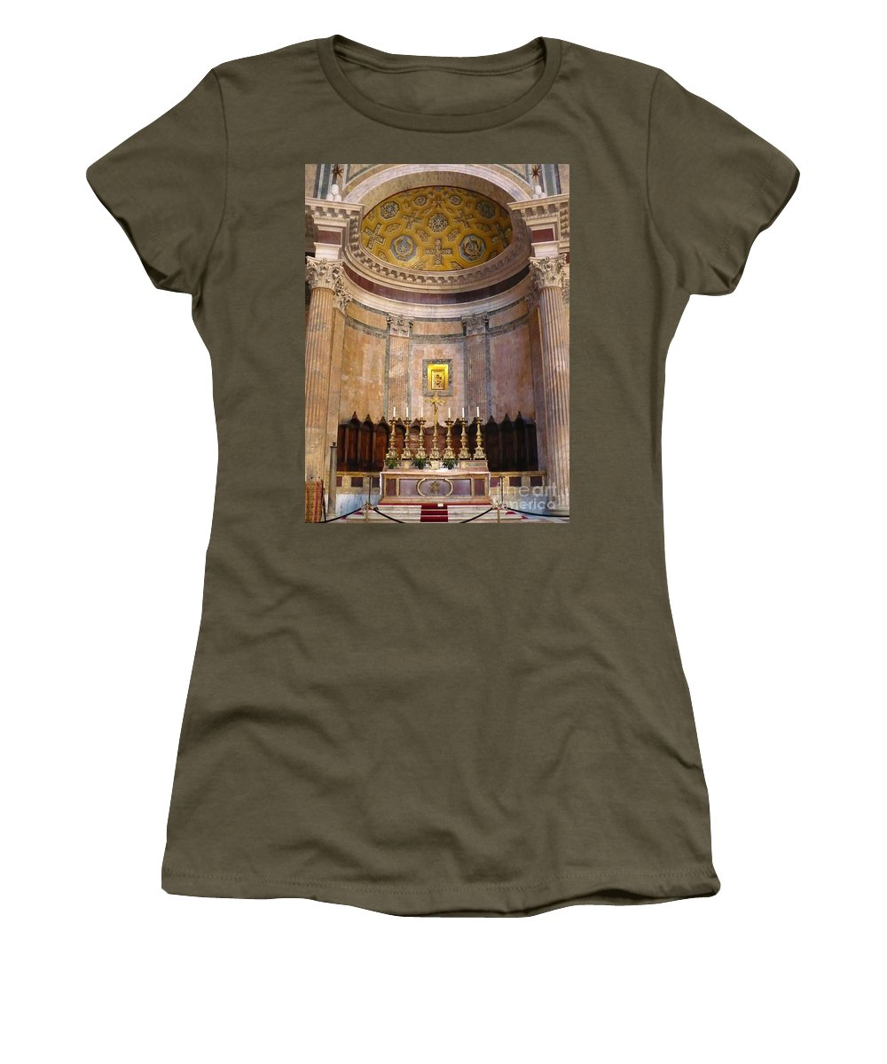 Pantheon Women's T-Shirt (Athletic Fit) featuring the photograph Golden Pantheon Altar by Carol Groenen