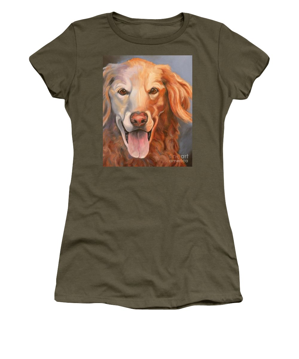 Dogs Women's T-Shirt featuring the painting Golden Retriever Till There Was You by Susan A Becker