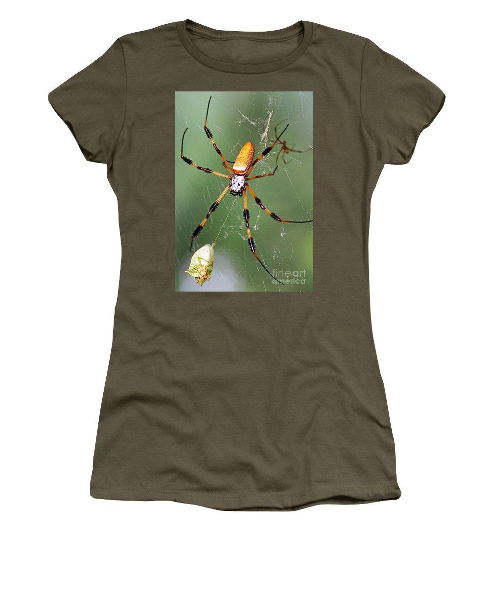 Animal Women's T-Shirt featuring the photograph Golden Silk Spider Capturing A Stinkbug by Millard H. Sharp