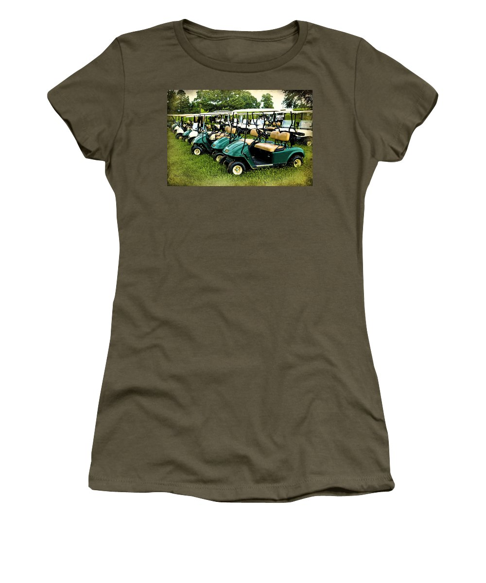 Golf Cart Women's T-Shirt (Athletic Fit) featuring the photograph Golfers Take Your Pick by Sandi OReilly