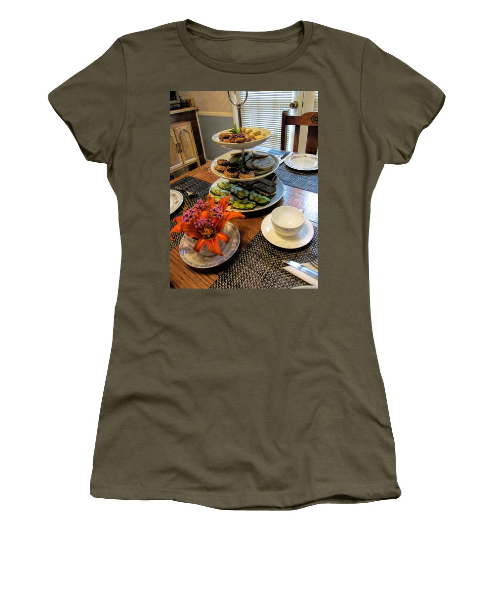 Finger Foods Women's T-Shirt (Athletic Fit) featuring the photograph Good Eats In A Lovely Setting by Kathy Clark