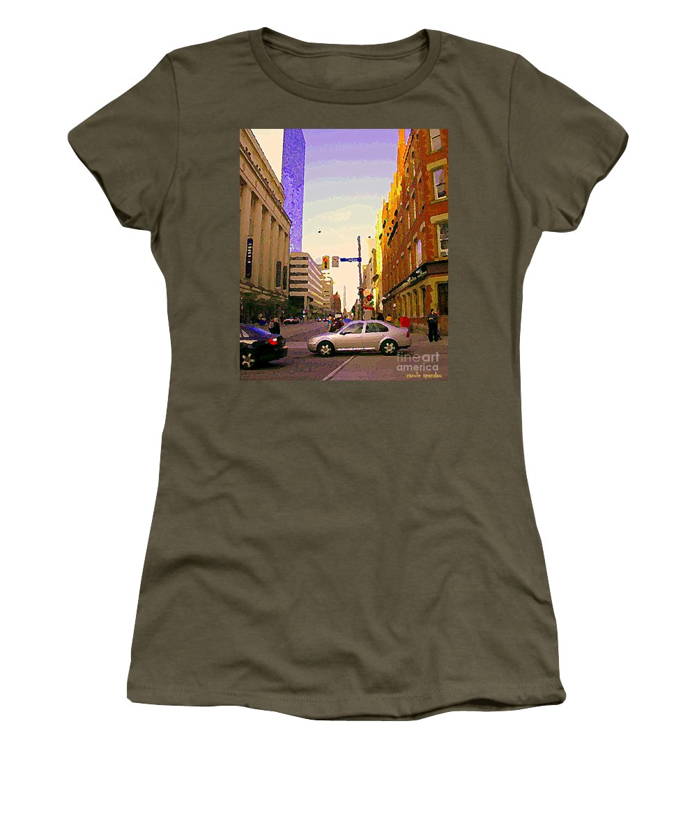 Toronto Women's T-Shirt featuring the painting Good Morning Drive By Yonge St Starbucks Toronto City Scape Paintings Canadian Urban Art C Spandau by Carole Spandau