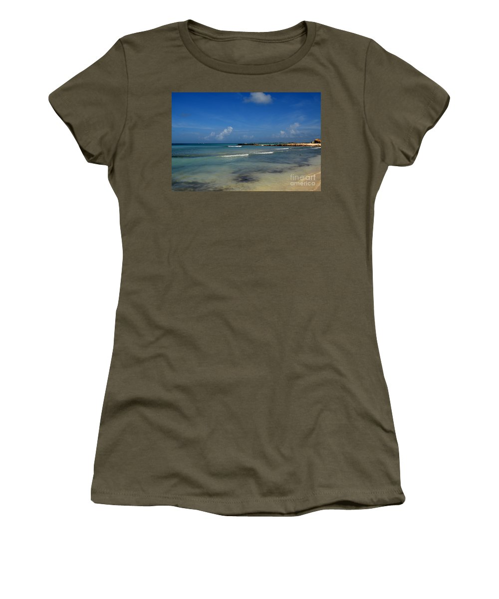 Aruba Women's T-Shirt featuring the photograph Gorgeous Beach In Aruba by DejaVu Designs