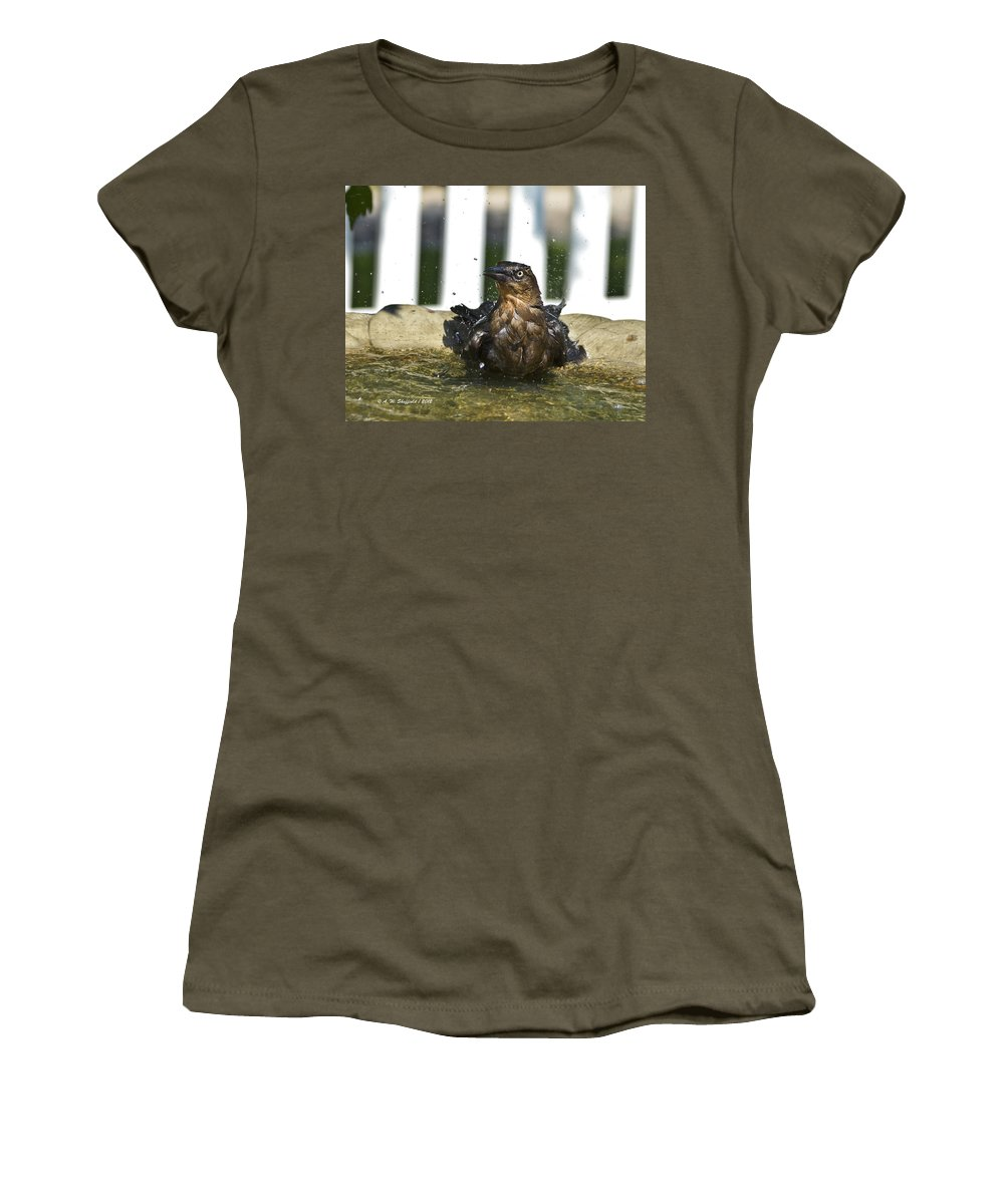 Grackle Women's T-Shirt featuring the photograph Grackle In The Bird Bath 1 by Allen Sheffield