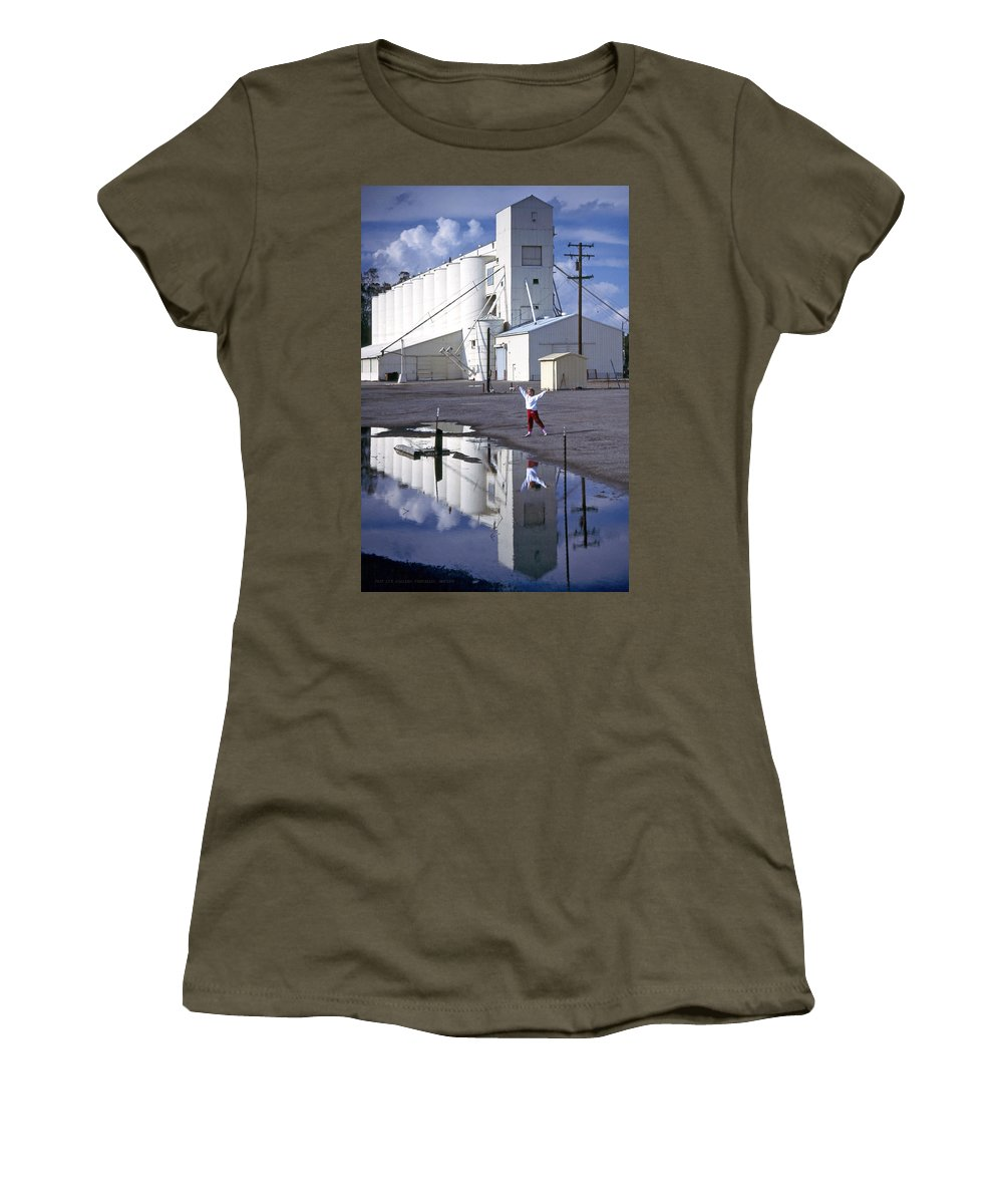 Grain Elevators Women's T-Shirt featuring the photograph Grain Elevators And Child by Michael Moore
