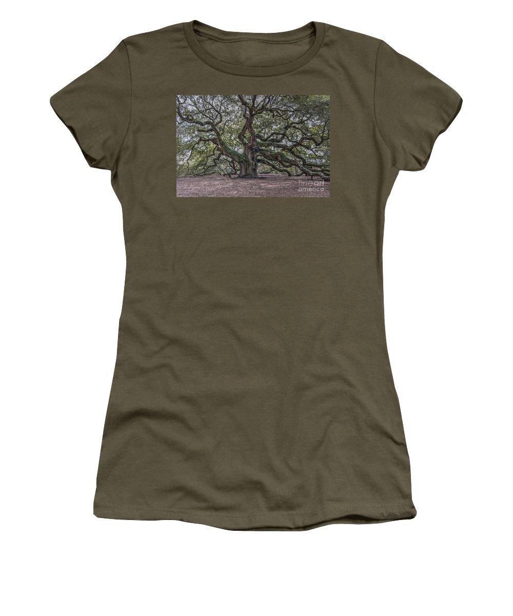 Angel Oak Tree Women's T-Shirt featuring the photograph Grand Angel Oak Tree by Dale Powell