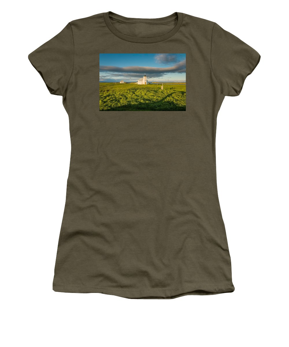 Photography Women's T-Shirt featuring the photograph Grasslands And Flatey Church, Flatey by Panoramic Images