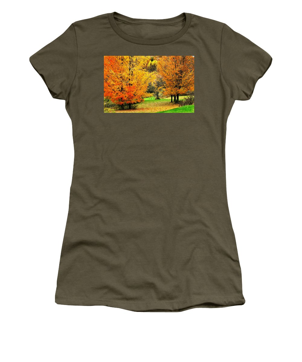 Trees Women's T-Shirt (Athletic Fit) featuring the photograph Grassy Autumn Road by Rodney Lee Williams