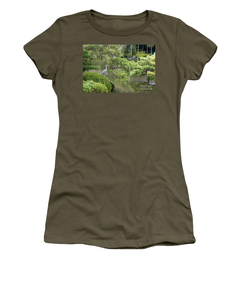 Blue Women's T-Shirt (Athletic Fit) featuring the photograph Great Blue Heron In Pond Kyoto Japan by Thomas Marchessault