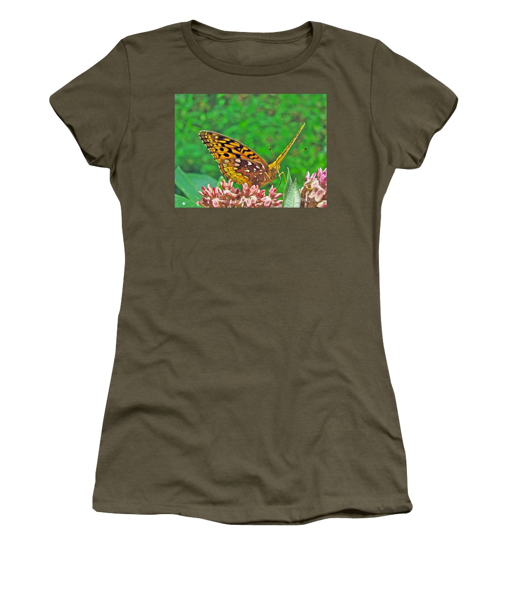 Butterfly Women's T-Shirt (Athletic Fit) featuring the photograph Great Spangled Fritillary Butterfly - Speyeria Cybele by Mother Nature
