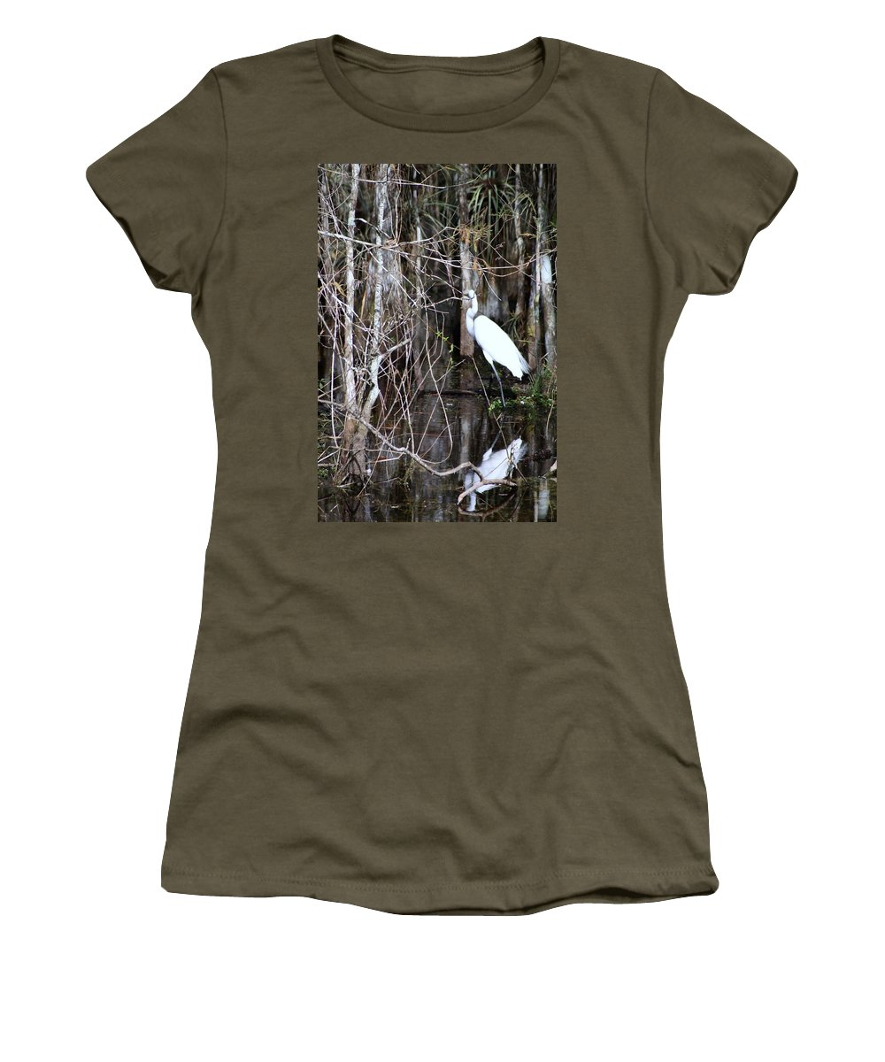 Egret Women's T-Shirt featuring the photograph Great White Egret by Chuck Hicks