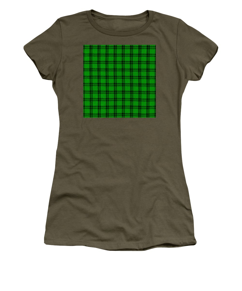 Plaid Fabric Women's T-Shirt featuring the photograph Green And Black Plaid Cloth Background by Keith Webber Jr