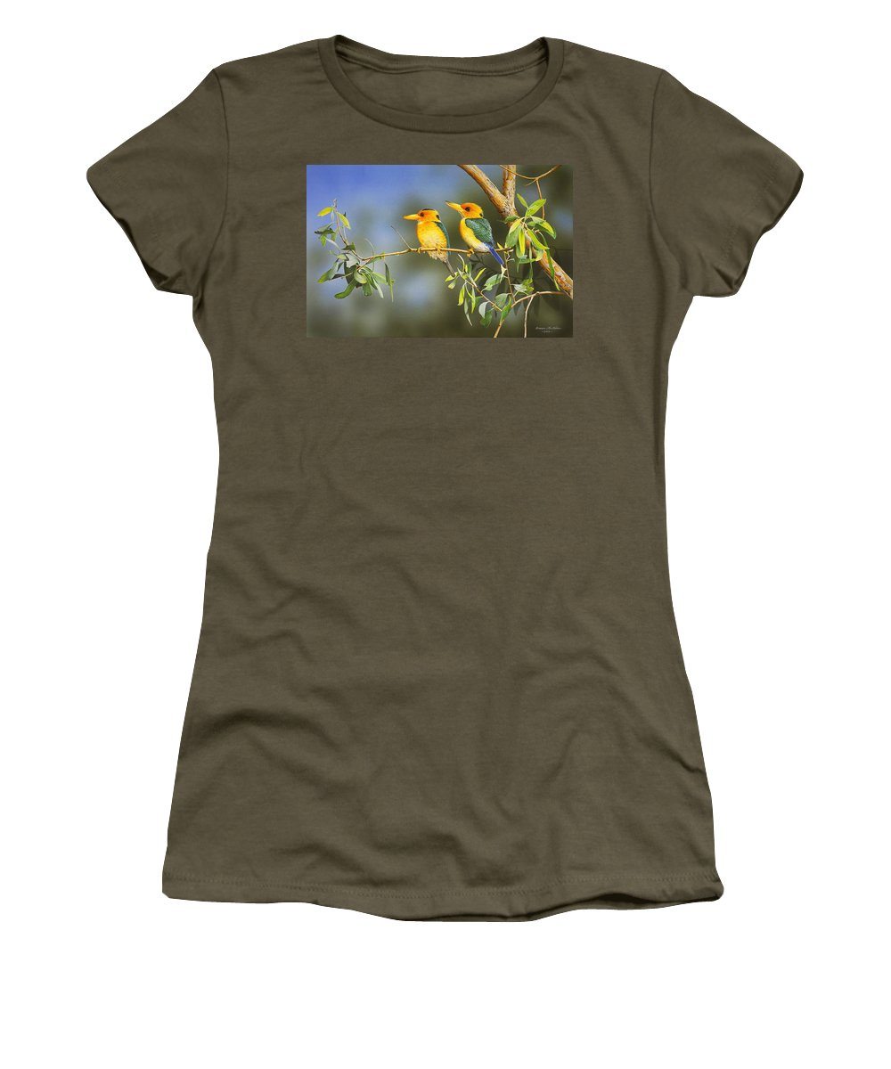 Gum Trees Women's T-Shirt featuring the painting Green And Gold - Yellow-billed Kingfishers by Frances McMahon