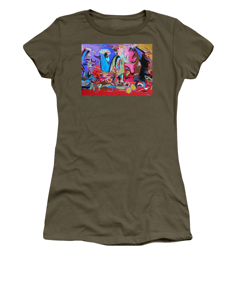 Angel Women's T-Shirt (Athletic Fit) featuring the painting Green Angel by Lucia Hoogervorst