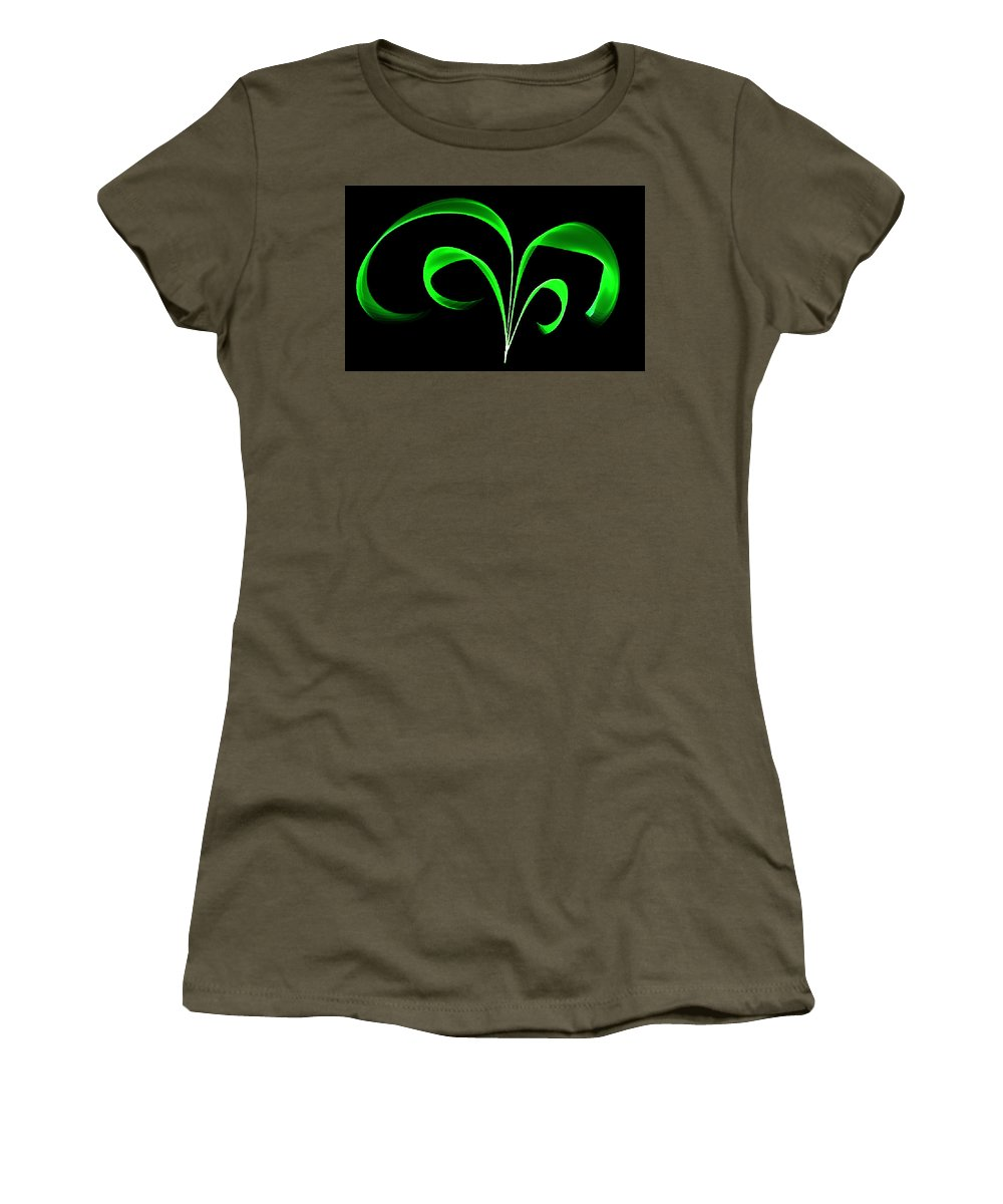 Green Women's T-Shirt featuring the painting Green Flaring Plant by Bruce Nutting