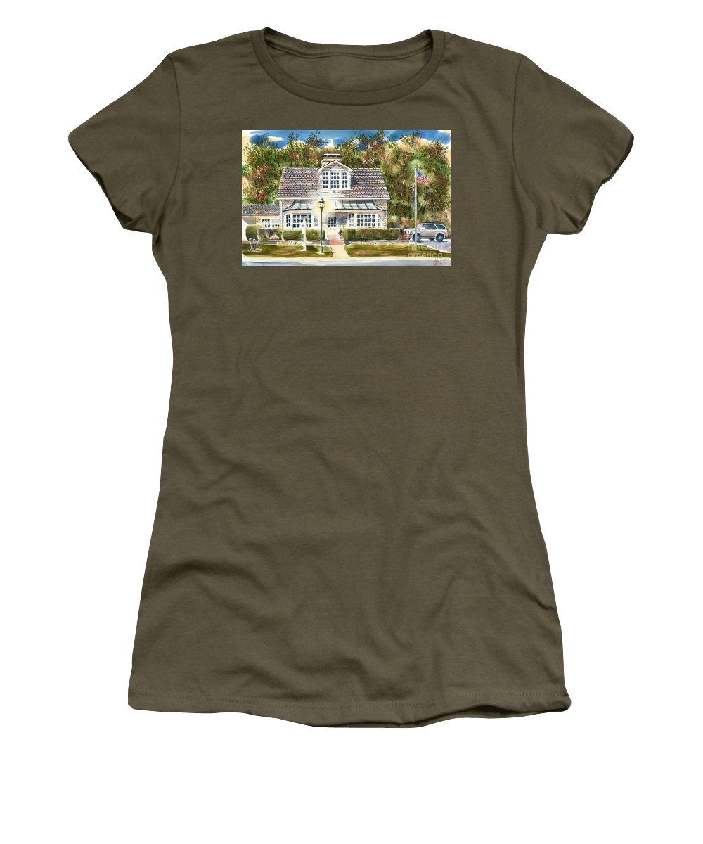 Greystone Inn Ii Women's T-Shirt (Athletic Fit) featuring the painting Greystone Inn II by Kip DeVore