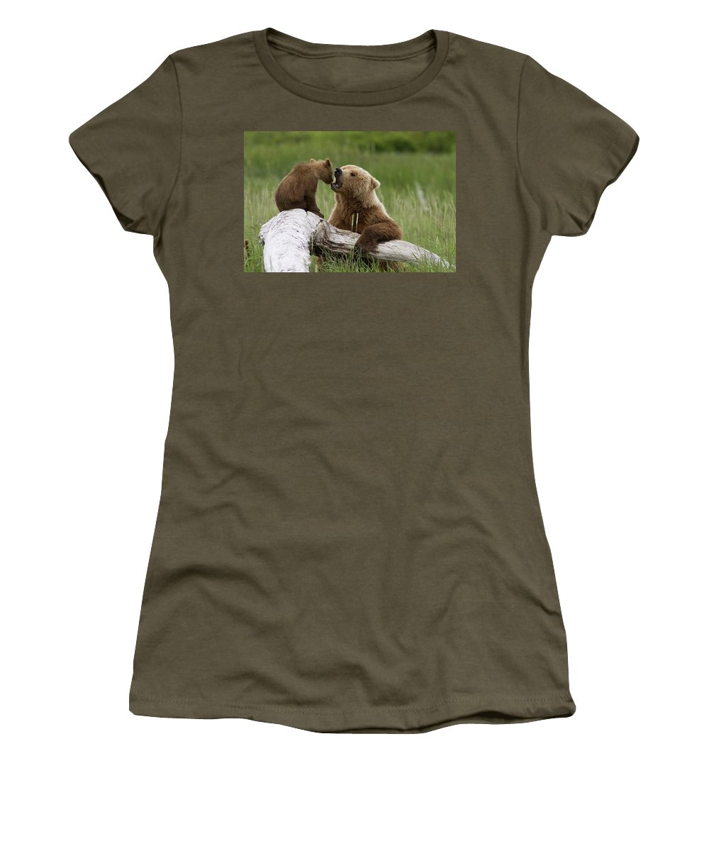 Mp Women's T-Shirt featuring the photograph Grizzly Bear With Cub Playing by Matthias Breiter