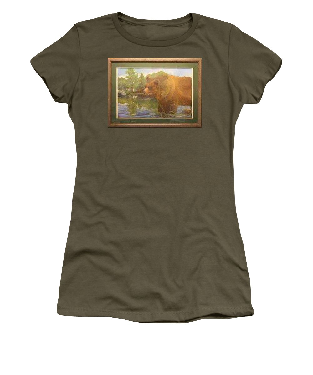 Rick Huotari Women's T-Shirt (Athletic Fit) featuring the painting Grizzly by Rick Huotari