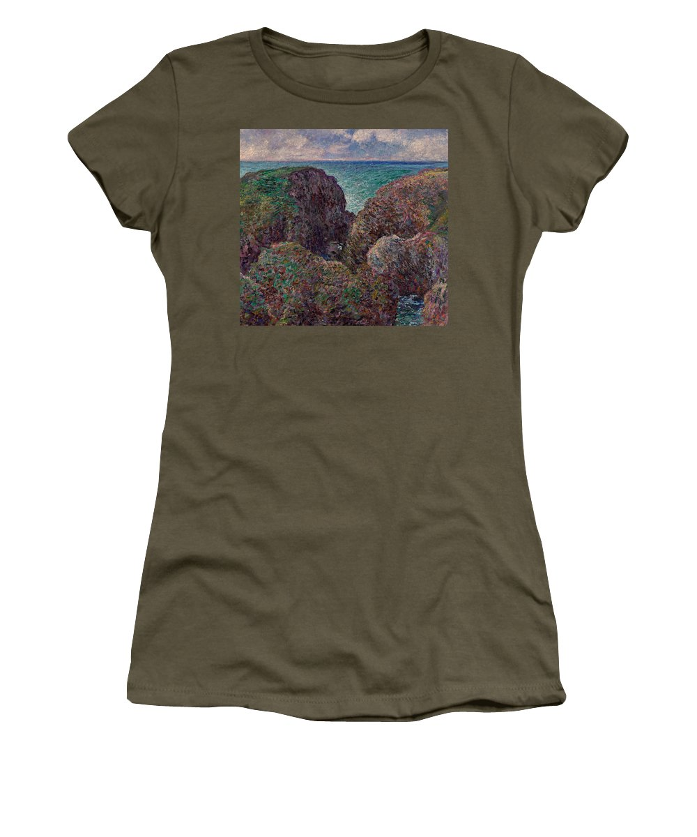 Monet Women's T-Shirt featuring the painting Group Of Rocks At Port Goulphar by Claude Monet