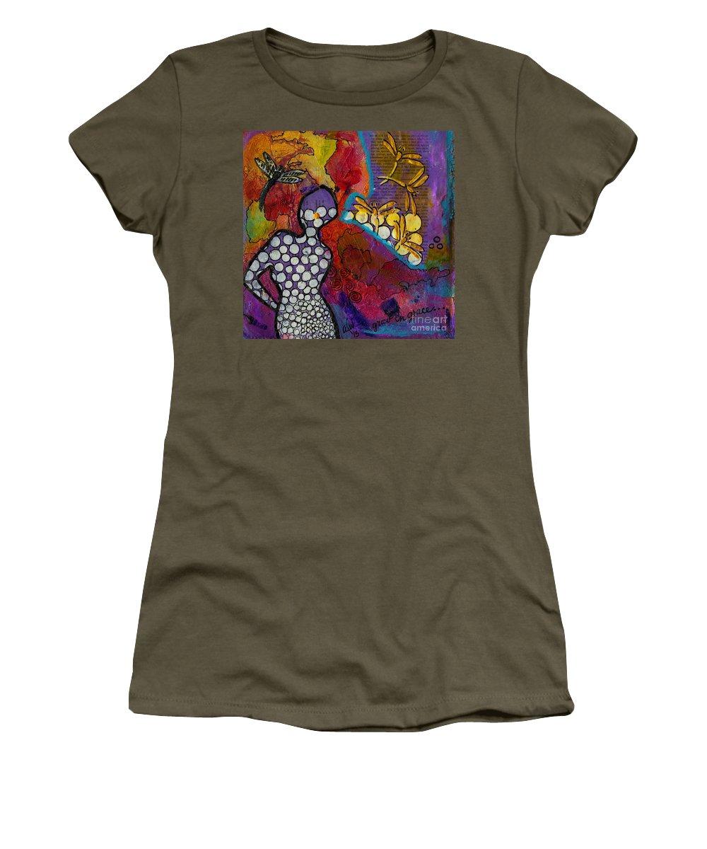 Journal Art Women's T-Shirt featuring the mixed media Growing In Grace by Angela L Walker