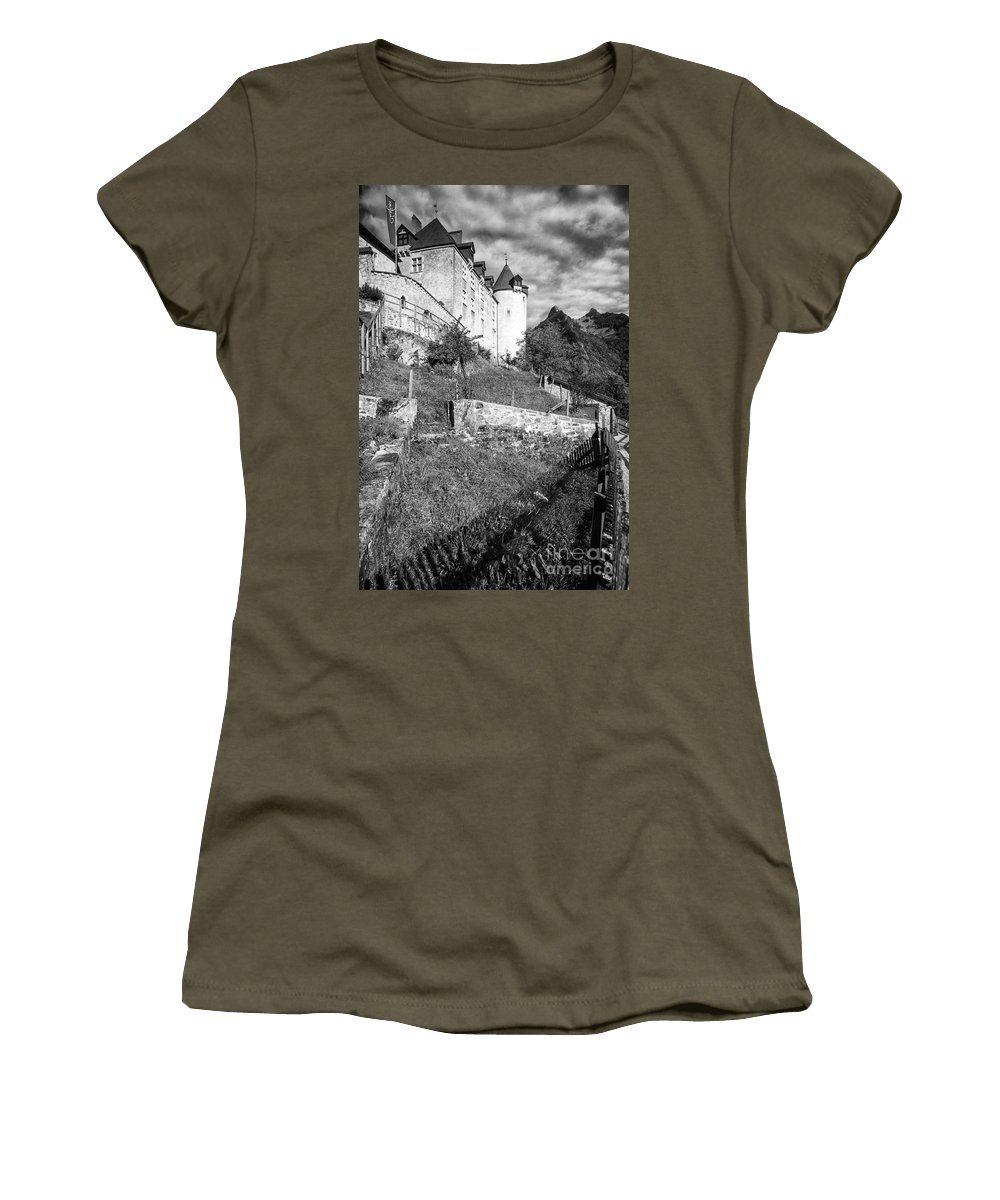 Leysin Women's T-Shirt (Athletic Fit) featuring the photograph Gruyeres Castle Bw by Timothy Hacker