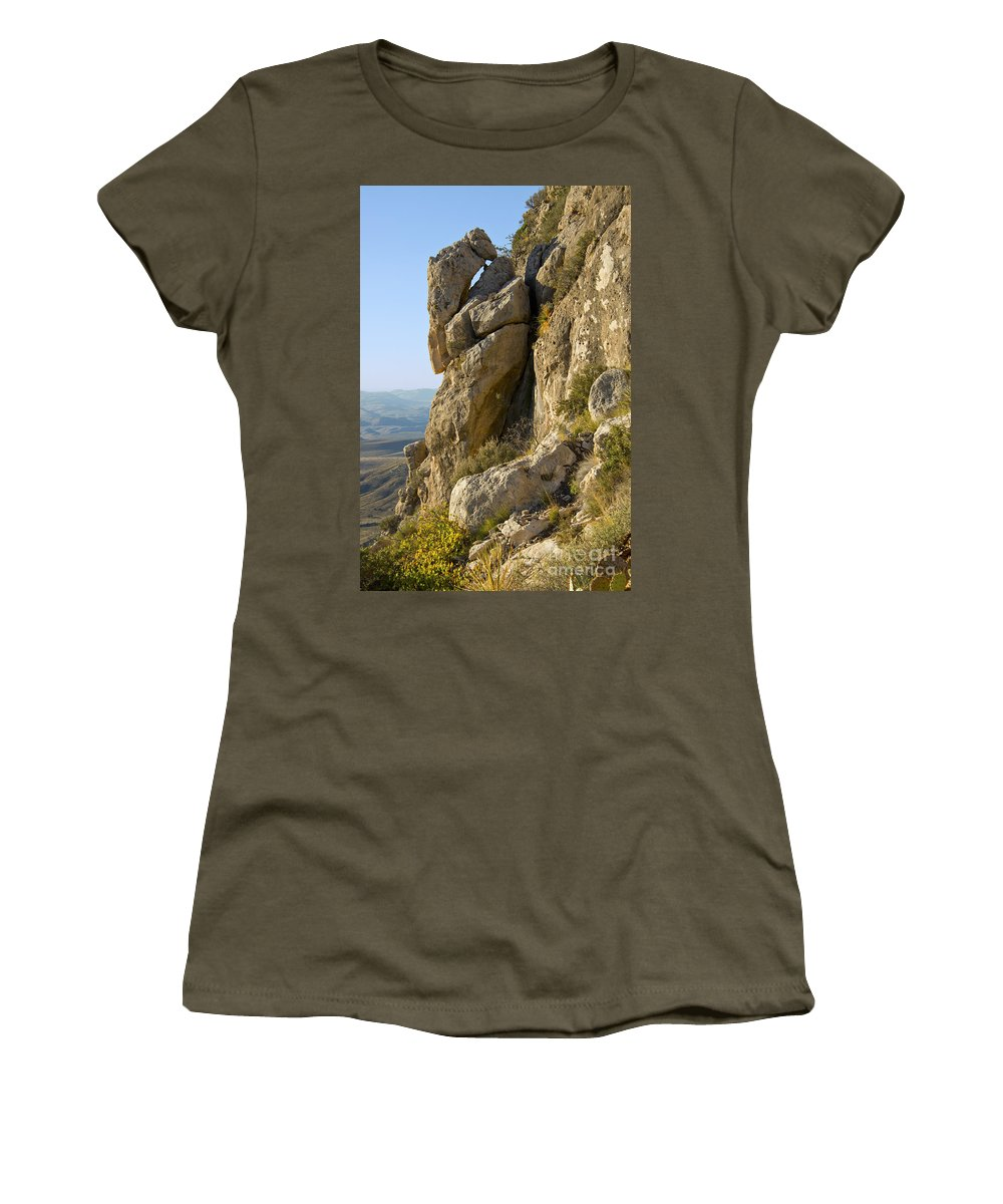 Guadalupe Mountains National Park Texas Guadalupe Peak Trail Trails Mountain Rock Rocks Landscape Landscapes Women's T-Shirt featuring the photograph Guadalupe Peak Trail by Bob Phillips
