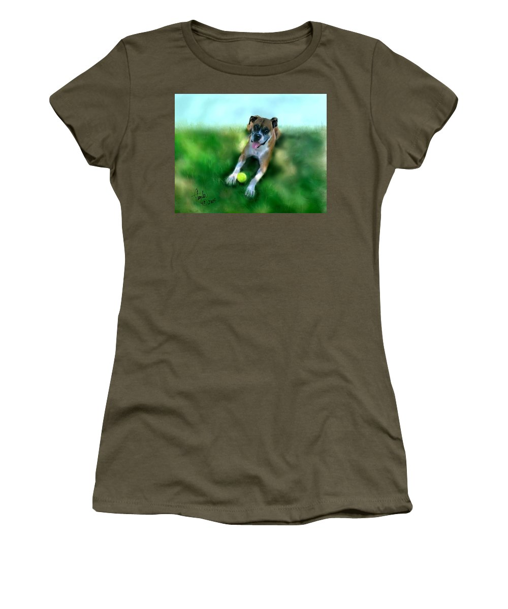 Dogs Women's T-Shirt (Athletic Fit) featuring the painting Gus The Rescue Dog by Colleen Taylor